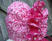 OOAK - Ruffled Baby Bonnet Floral Pink on Pink