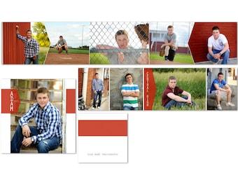 Adam 3x3 Mini Accordion Album for Senior Guys or Girls - Photoshop Templates for Photographers - AM2001 Instant Download