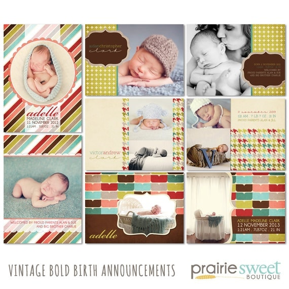 Vintage Bold - Birth Announcement Card Templates - Baby Boy or Girl - 8 PSD Files - Great for Photographers - CS0002