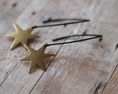 Star Burst Earrings, Gold Stars on Long Matte Black Ear Wire Dangles , Celestial, Space , Gift Box