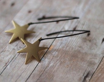 Star Burst Earrings, Gold Stars on Long Matte Black Ear Wire Dangles , Celestial, Space , Gift Box