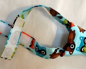 Little Boys Tie in Aqua Raccoons - adjustable to fit sizes 2T through 5T READY TO SHIP