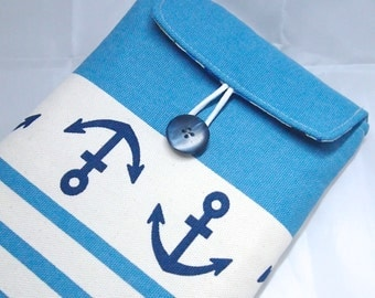 Padded Case for iPad mini / E-Reader /  Small Tablets - Nautical anchor stripes