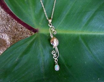 14K Opal Pendant, Gold Necklace, Opal Necklace