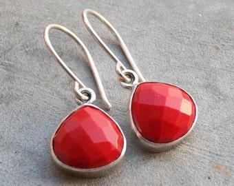 Faceted earrings - Red coral earrings - Dangle Earrings - Bezel earrings -  Gemstone earrings - Jewelry gift ideas