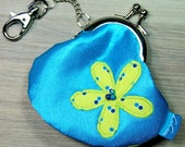 Mini Treasures Purse - Clip Frame - Flower - Turquoise - Yellow -  Lobster Clasp - Pocket Money - Lunch Money - Tooth Fairy