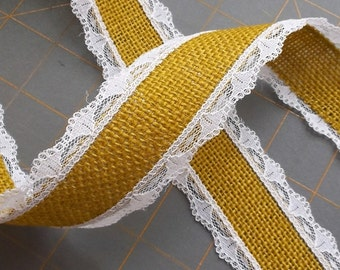 LAST CHANCE ~ Harvest Gold Burlap with White Lace - 1.5 inch x 3 yards