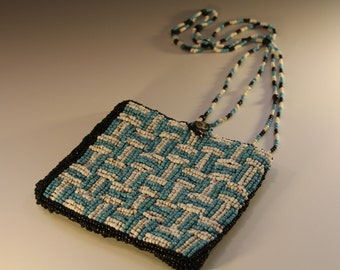 Vintage Chista New York Blue and White Beaded Bag