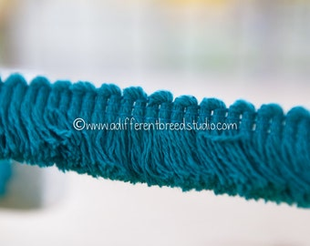 Brush Fringe - 3 yards Vintage Trim New Old Stock 60s 70s Deep Turquoise Blue