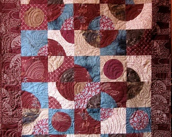 Patchwork Quilt - burgundy and brown Japanese Drunkard's Path