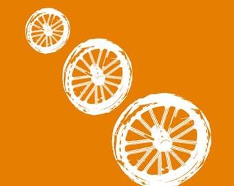 The Trio wheels print - nursery art,decor,wheels silhouette,orange color,fine art print, Mothers Day