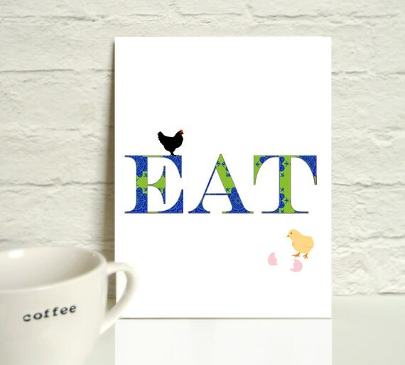 EAT Typography  in blue and green damask kitchen dinning room fine art print  chicken egg hatching A4 Size