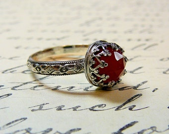 Roxy Ring - Beautiful Gothic Vintage Sterling Silver Floral Band Ring with Rose cut Red Orange Onyx and Heart Bezel