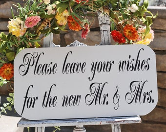 Wedding Signs - LEAVE a WISH for Mr and Mrs 18x7 Self Standing Beach Wedding Signs