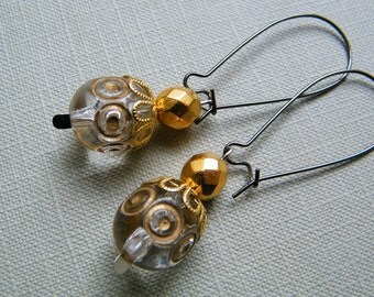 Crystal and Gold Vintage Inspired Dangling Earrings