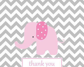 Chevron note card, chevron notes, baby note cards, custom personalized notes,Grey chevron pink elephant