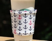 STORE CLOSING - Fabric Coffee Cozy / Coffee Sleeve - Navy, Pink and White Anchors - java jacket, gift under 10 dollars