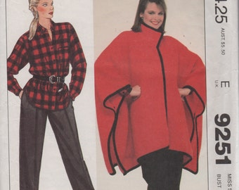 McCalls 9251 1980s Misses Designer Poncho Shirt and Pants Pattern Jones New York Womens  Vintage Sewing Pattern Size 10 Bust 32 1/2