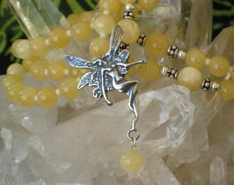 Aragonite Rosary Necklace Dancing Fairy Pagan Spirit Meditation