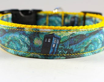 """Doctor Who """"Starry Night"""" dog collar on yellow webbing 1"""" wide-- you pick length"""