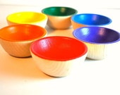 Educational Toy - The ORIGINAL Rainbow Wooden Sorting Bowls  -  Waldorf Toy / Wooden Toy