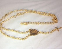 Yolanda Foster Inspired Rosary Necklace - Custom Made - Choice of SIlver or Gold Plated - Choice of Cross / Connector / Pendant