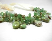 Chrysoprase, Aventurine, Swarovski Crystal Bauble Ribbon Bib Necklace