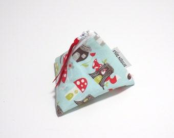 Oragami Pouch - Organic Cotton Pouch - Zip Pouch - Mushroom Pouch - Mushroom Zip Bag