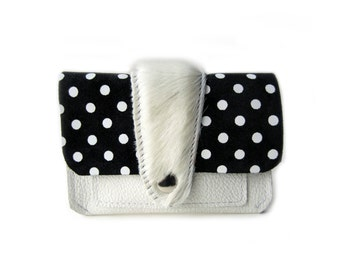 leather wallet white hair dots
