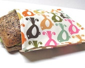Reusable Sandwich Bag Birdy Eco Friendly Lunch Bag Stylish Modern Lunch Kit Earth Day Birds Ready to Ship Back to School