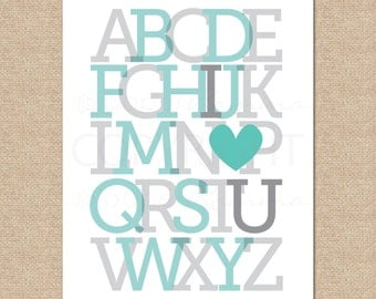 ABC I love you // Nursery, Kids Room Giclée Art Print // N-G52-1PS AA1