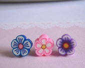 Blue Flower Stud Earrings, Pink Flower Earrings, Purple Flower Earrings, Clay Blossom Flower, Choose Your Color