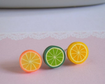 Orange Stud Earrings, Lemon Stud Earrings, Lime Stud Earrings, Miniature Fruit Studs Earrings, Choose Your Own