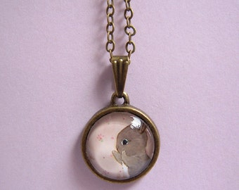 Cute Bunny Necklace, Rabbit Glass Dome Pendant, Pastel Pink Coin Frame, Antiqued Brass Chain