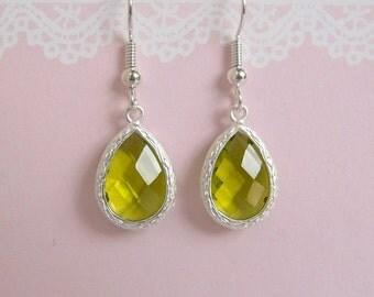 Lime Green Earrings, Teardrop Glass Earrings, Lemon Quartz Glass Silver Dangle Earrings