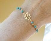 Gold LOTUS Bracelet, Delicate Turquoise Bracelet, Lotus jewelry, yoga bracelet, Zen, minimal gold bracelet