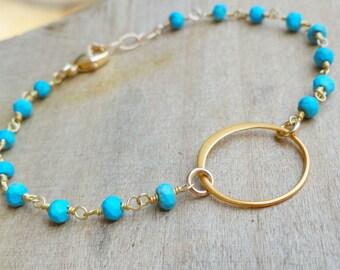Gold Eternity Bracelet, Delicate Turquoise Bracelet, Karma jewelry, Circle bracelet, Friendship bracelet, Sisters bracelet