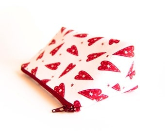 FREE SHIPPING, White Red Hearts Cosmetic bag, makeup bag, cosmetic clutch