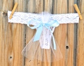 Bridal Lingerie TULLE train for a CUTE bridal BUM something blue Bow says i do in rhinestones size Large  -Ships in 24hrs