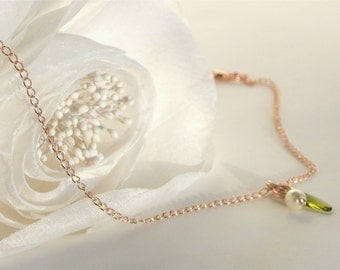 Rose Gold Pearl Necklace, Petite Pearl Necklace, Flower Girl Jewelry, Flower Girl Necklace, Junior Bridesmaid Gift