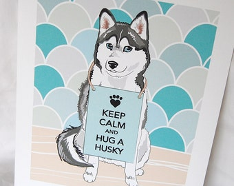 Keep Calm Husky with Scaled Background - 7x9 Eco-friendly Print