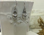 Closeout Sale Doom Skull aged silver and filigree handmade spooky Halloween goth earrings