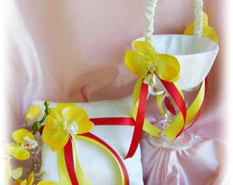 Red and yellow wedding flower girl basket and ring bearer pillow, yellow orchids weddings ceremony decor