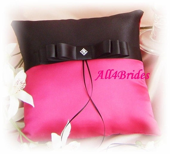 Wedding ring bearer pillow - hot pink fuchsia black pillow - weddings ceremony decor