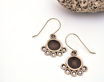 Copper and Silver Earrings, Eyelet Lace Dangles