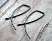 Black Oxidised Entwined Earrings. Simple Sterling Silver Jewelry. Modern Contemporary Sleek Elegant Design.