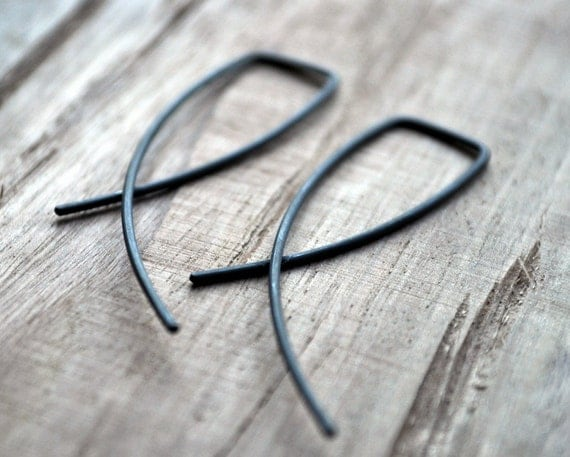 Black Oxidised Entwined Earrings. Simple Sterling Silver Jewelry. Modern Contemporary Sleek Elegant Design.