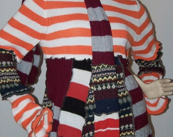 Striped Tunic Sweater  Top Dress Wearable ArT Upcycled Recycled Reconstructed and SCARF