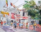 Lobster Pot Cape Cod Provincetown 5x7 or 6x8 Print from Watercolor Painting Gwen Meyerson