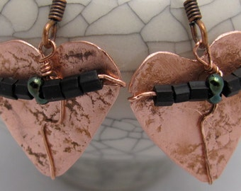 Copper Heart Shaped Earrings,  Heart Earrings,  Beaded Heart Earrings. ONSALE.